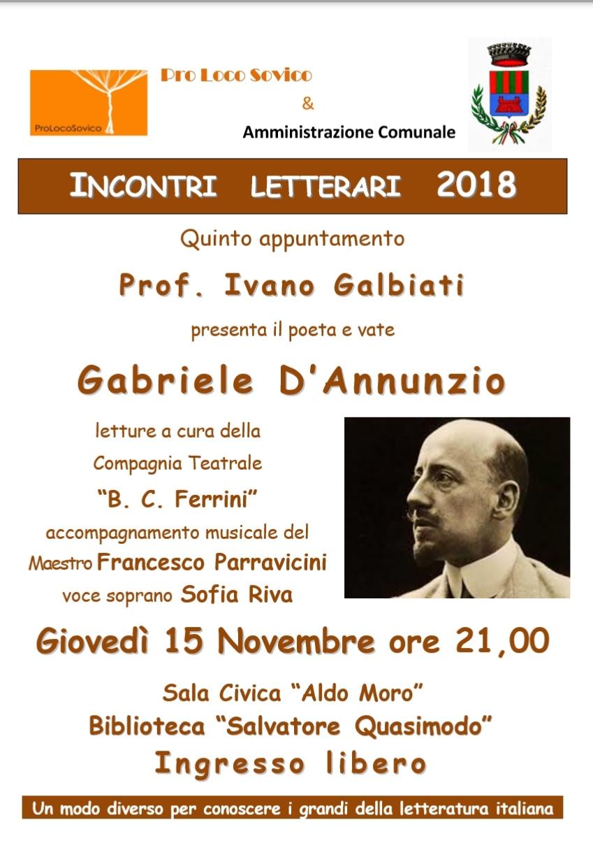 Locandina Incontro Letterario - Gabriele D'Annunzio